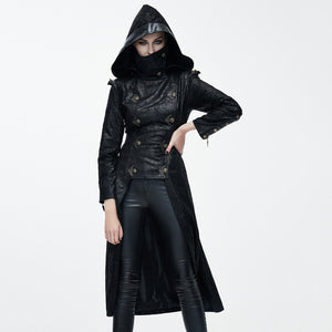 Fashion Autumn Winter Punk Style Faux Leather Women Dovetail Long Jackets Gothic Hooded Coats Punk Handsome Outerwear