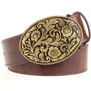 Fashion belt men Tang dynasty flower design belt Arabesque pattern Tang Cao Pentagram Fashion elements popular belts women
