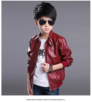 Spring &Autumn boy's outerwear coats Children's PU Jackets fits 3-12Y 2color