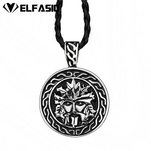 "Celtic GreenMan Silver Black Mens Boys Pewter Pendant with 24"" Free Necklace"