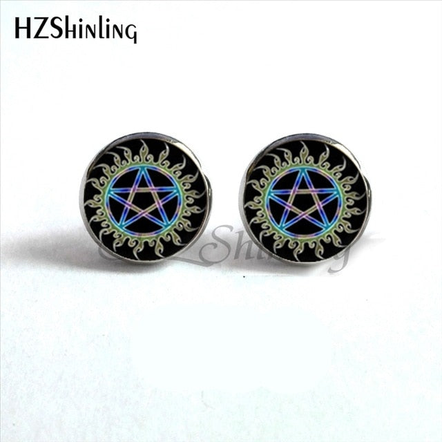 Wiccan Ear Nail Magick Wicca Pentagram Ear Studs Occult Stud Earrings Jewelry Glass Cabochon Earrings
