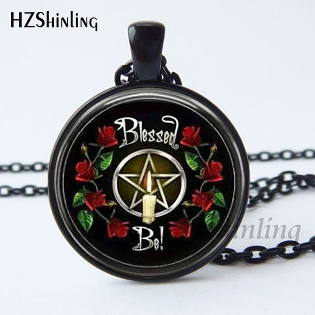 New Arrival Wiccan Pendant Necklace Witchcraft Pagan Pentagram Black  Black Magic Jewelry Glass cabochon jewelry