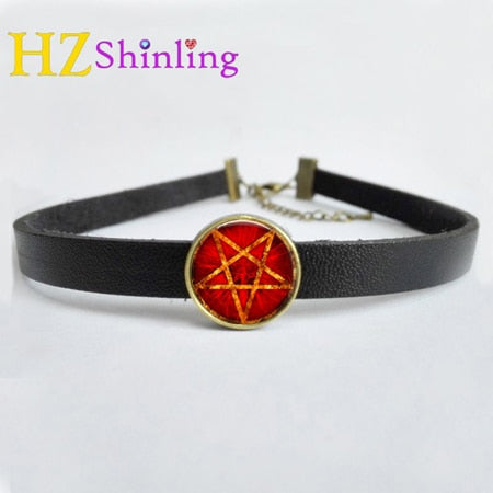 NEW Occult Wiccan Leather Necklace Pentagram Wicca Pendant Glass Jewelry Leather Choker Necklace