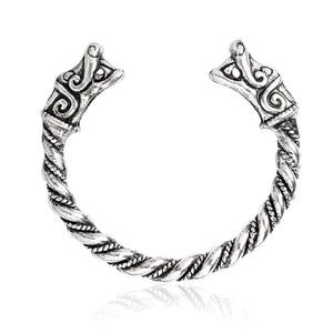 Viking Wolf Bracelet for men Antique Silver Metal Mythical wolf Fenrir Pagan Bangles Norse mythology Wristband Vikings Jewelry