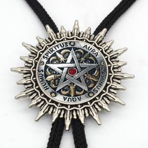 New Fashion Pentagram Wiccan Western Bolo Tie Vintage Wicca Symbol Neck Tie Glass Photo Pentagram Bolo Ties Wholesale