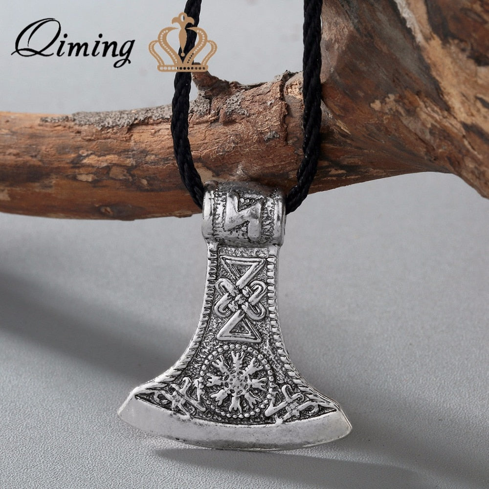 Punk Style Men Slavic Perun axe Antique Silver Amulet Kolovrat Symbol Pagan Jewelry Amulets and Talismans Pendants