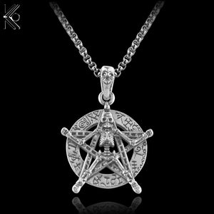 Retro Antique Silver Alloy Gothic Skeleton Pentagram Stars Pendant Chain 60CM Long Necklace Wiccan Pagan Religious jewelry