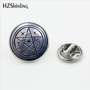 New Steampunk Wiccan  Collar Pin Brooch Magick Pagan Pentagram Jewelry Glass Cabochon Stainless Steel Lapel Pins Brooches