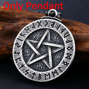 Stainless Norse Viking Pendant Necklace Large Rune Pentacle Pendant Pentagram Jewelry Wiccan Necklace Norse