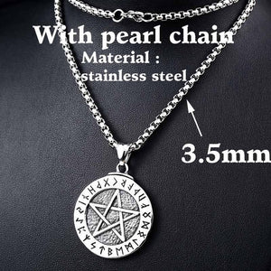 Beier stainless Norse Viking Pendant Necklace Large Rune Pentacle Pendant Pentagram Jewelry Wiccan Necklace Norse