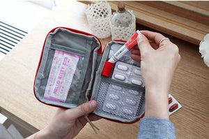 Function Portable First Aid Kit Travel Accessories Emergency Drug Cotton Fabric First Aid Medicine Bag Pill Case Splitters Box