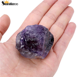Sunligoo Rough Amethyst Crystal Quartz Rock Natural Chakra Stone for Cabbing,Tumbling,Lapidary,Polishing, Wicca &Reiki Crystal H
