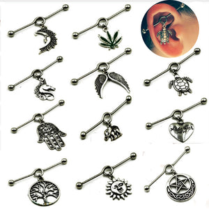 BOG-1PCS 316L Surgical Steel Charming New Design  Ear Industrial Barbell with Tribal Wiccan Pagan Style Piercing Jewelry