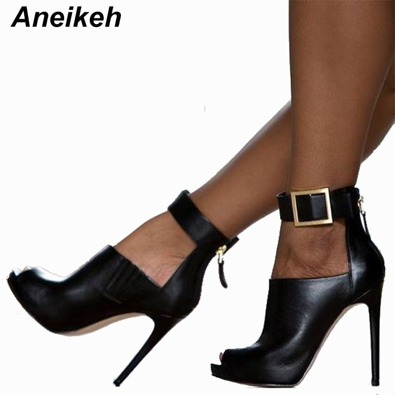 Aneikeh Gladiator Women Pumps Ladies Sexy Buckle Strap Roman High Heels Open Toe Sandals Party Wedding Shoes Size 41 42 Black