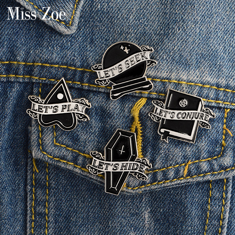 4pcs/set LET'S SEEK HIDE PLAY CONJURE Enamel Pins Coffin Witch book Magic ball Badge Gothic Brooches Dark Jewelry Gift for Women