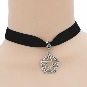 New 2018 Fashion Style Wicca Gothic Pentacle Star Pentagram Pendant Supernatural Necklace Five Pointed Star Black Choker Jewelry