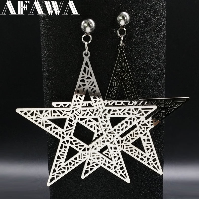 Fashion Big Pentagram Stainless Steel Stud Earrings for Women Jewelry Silver Color Big Wicca Earrings Jewelry wicca