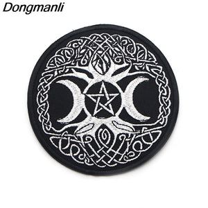 Triple Moon Goddess Wicca Pentagram badge Magic Amulet Iron On Sewing On Embroidered Applique Patch Clothes