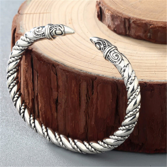 Dragon Bracelet Viking Bangle Fenrir Wristband Pagan Men Jewelry Slavic Wolf Head Cuff Bracelets For Women Bangles Silver