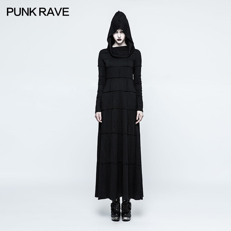 New Punk Rave Gothic Cotton Multi Split Fashion Black Retro Women Dress Hoodie Witches Visual Kei Q327