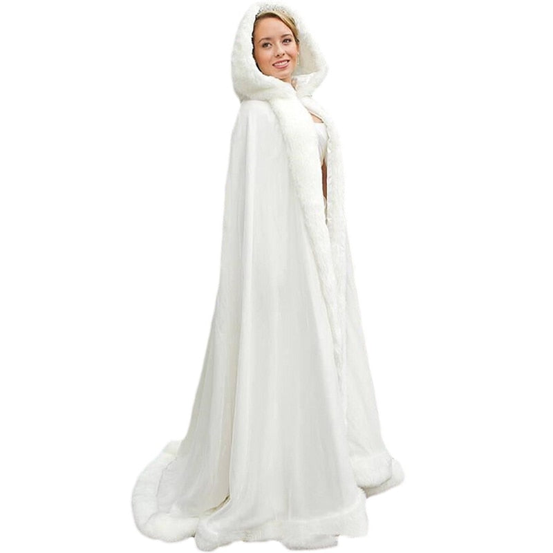 New Elegant White Ivory 2019 Warm Bridal Cape Winter Fur Women Jacket Bridal Cloaks Long Party Wedding Coat With Hat