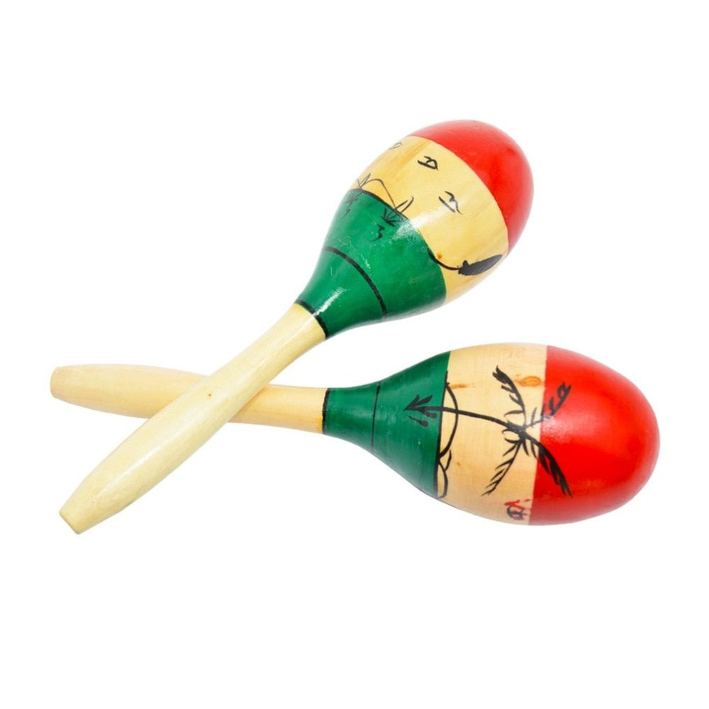 1 Pair Wooden Ball Children Toys Percussion Musical Instruments Sand Hammer Maraca Orff Instruments Educational Toy