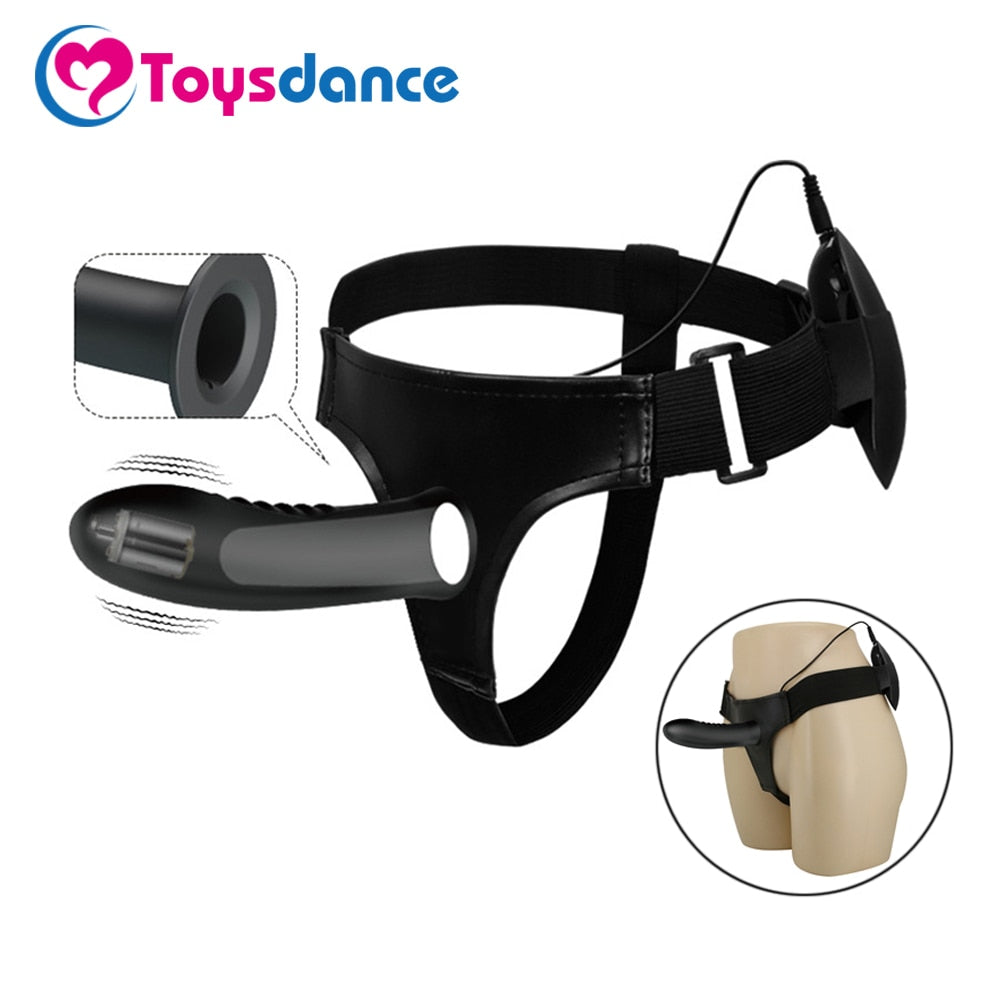 Toysdance Silicone Lesbian Strap On Harness Vibrator Dildo For Couples Hollow Design Men Wearable Vibrating Penis Adult Sex Toys