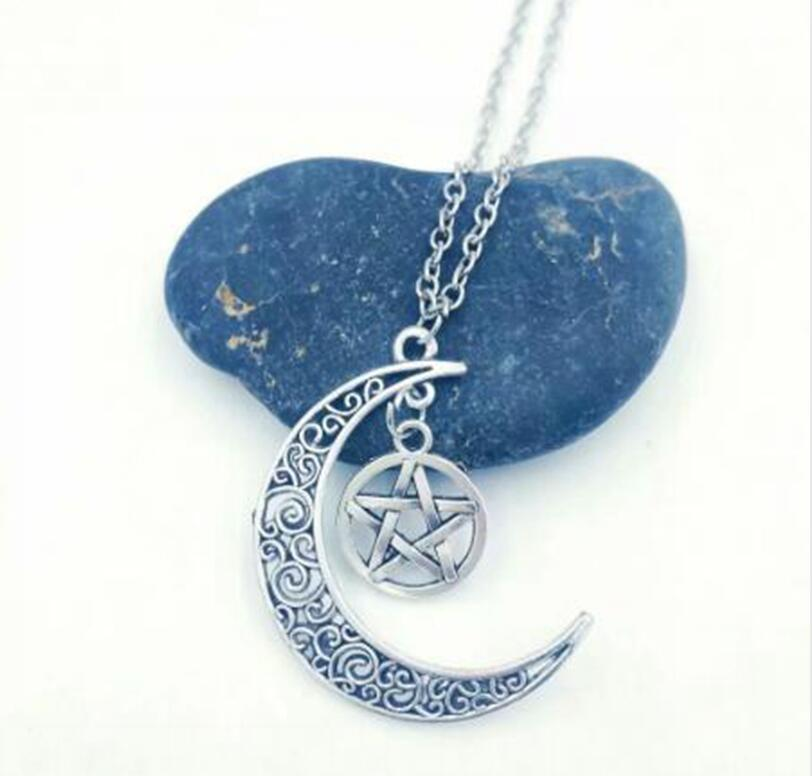 1 pcs Crescent Moon / Witchcraft Pentagram Charms Pendants Necklaces For Women Men Antique Silver Wicca Pagan Gift Jewelry New