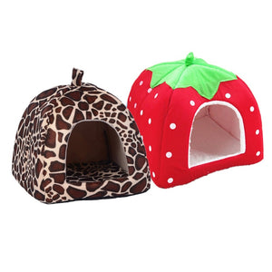 Warm Cat House Foldable Leopard Strawberry Dog Bed Animal Cave Nest for Puppy Dog Kennel Pet House Products
