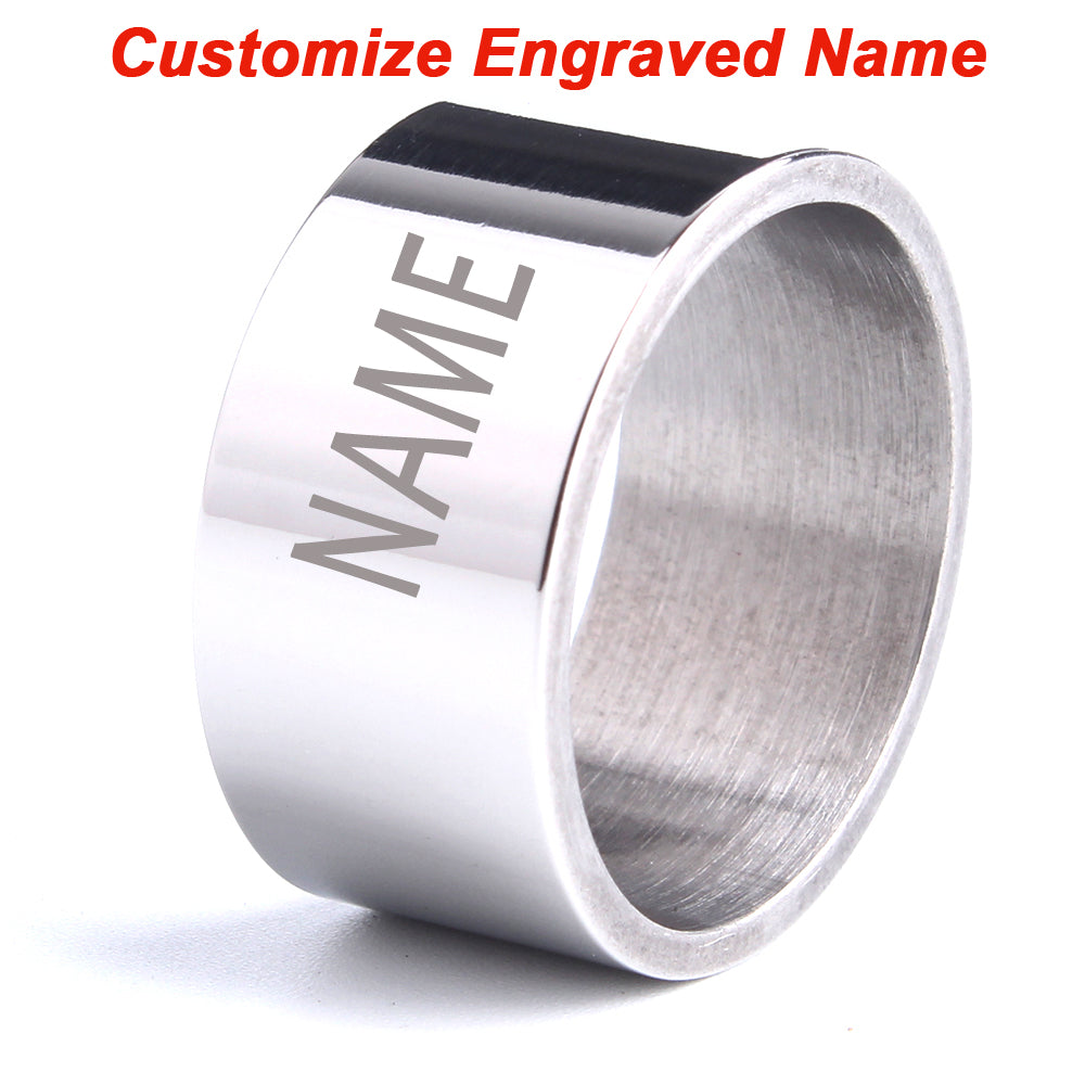 Custom Engraved Name rings for men laser letter rings Smooth surface 316L Stainless Steel women ring jewelry