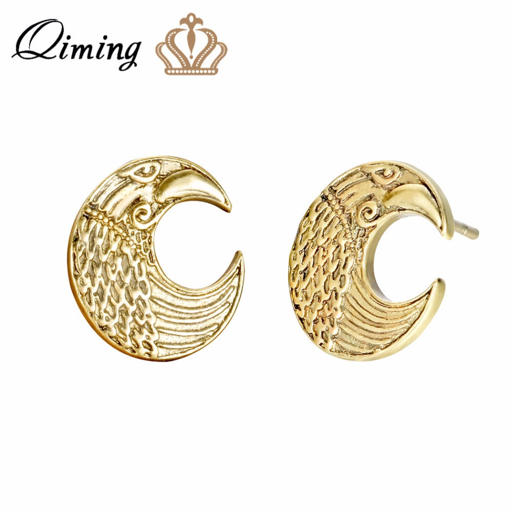 Crescent Moon Gold Earring Raven Pagan Slavic Pendant Amulet Classic Design Female Women Jewelry Retro Earrings Gift