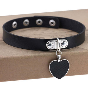 Black Heart Choker Necklaces for Women Trendy Goth choker Punk PU Leather Collar  Accessories gothic festival  jewelry