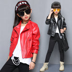 New Listing Spring Girls Clothes Solid PU Leather Jackets for Baby Kids Coats Short Casual Zipper Clothing Coats Outwear Costume
