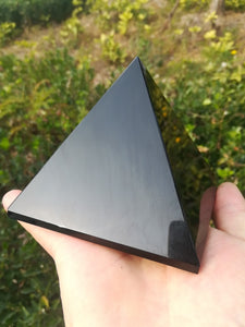 100mm Black Obsidian Healing Pyramid Natural Mineral Triangled Crystal Point wholesale