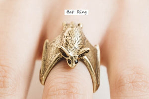 Adjustable Rose Gold/ Silver /Gold Bat Ring Animal Unique Jewelry Free Size gift idea fashion