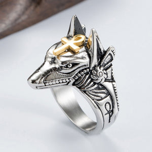 Stainless Steel Egypt Cross Anubis God Finger Rings For Men Women Punk Wolf Head Knuckle Ring Statement Retro Jewelry