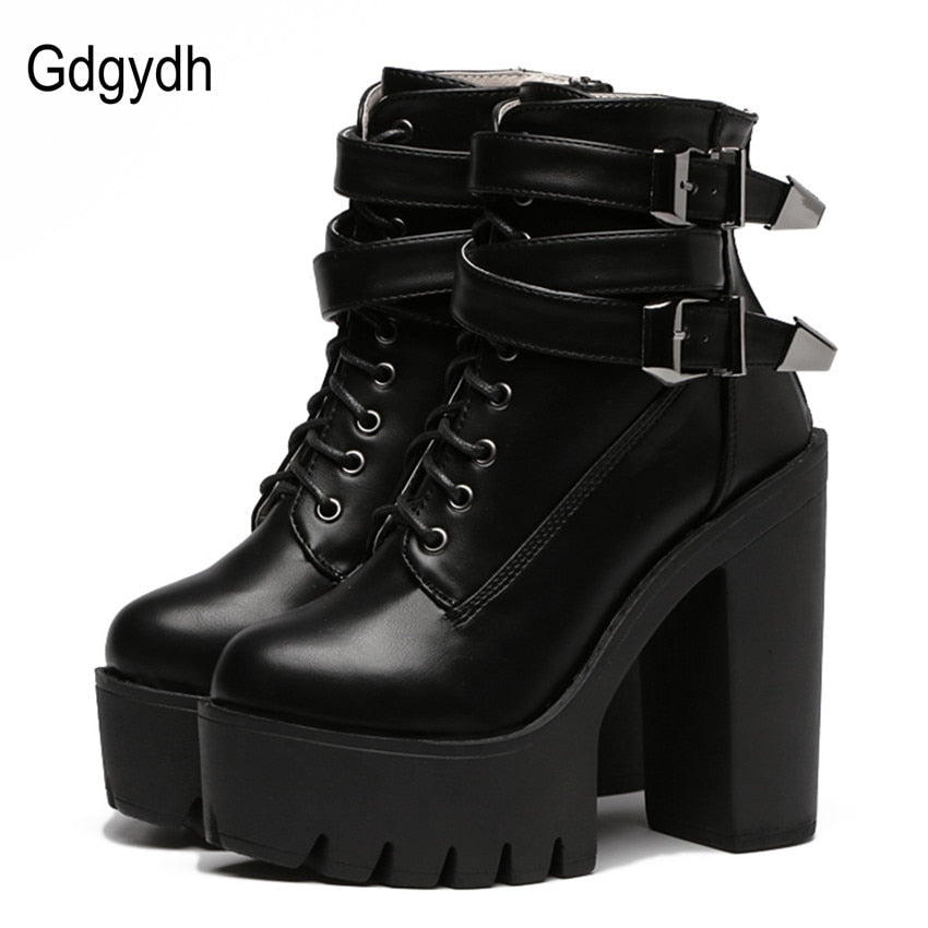 Fashion Women Boots High Heels Platform Buckle Lace Up Leather Short Booties Black Ladies Shoes Promotion
