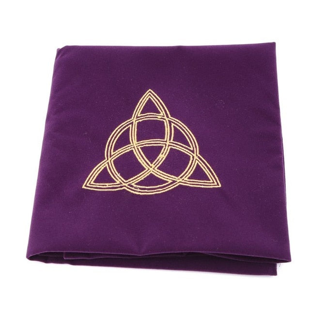 80*80cm Velvet Tarot Tablecloth Altar Wicca Pentacle Sun Embroidery Board Game