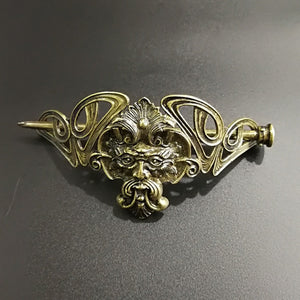 GREEN MAN Tin Hair Brooch Art Nouveau Jewel Jewelry Jewellery Greenman Herne Cernunnos Pagan Celtic Nature Forest Spirit
