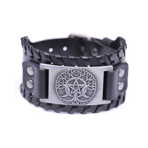 Teamer Wicca Tree of Life Charm Bracelets Triple Moon Star Goddess Brown Wide Leather Bracelet Vintage Jewelry Amulet Charms