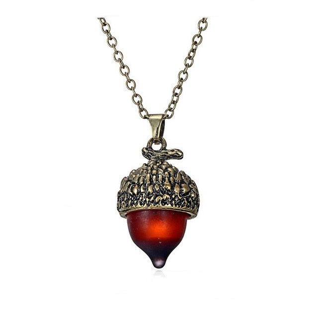 Glass Crystal Acorn Oak Water Drop Pendant Necklace for Women Antique Bronze Alloy Pine Nuts Sweater Chain Jewelry Gift