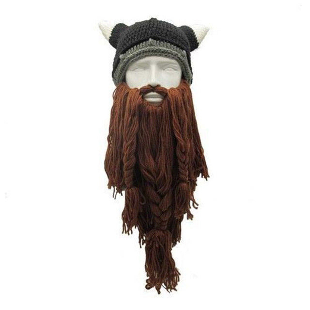 Funny Crazy Halloween Cosplay Men Knit Viking Beard Horn Hat Ski Mask Cap Barbarian Vagabond Cool Beanie Winter Warm Unisex Hat