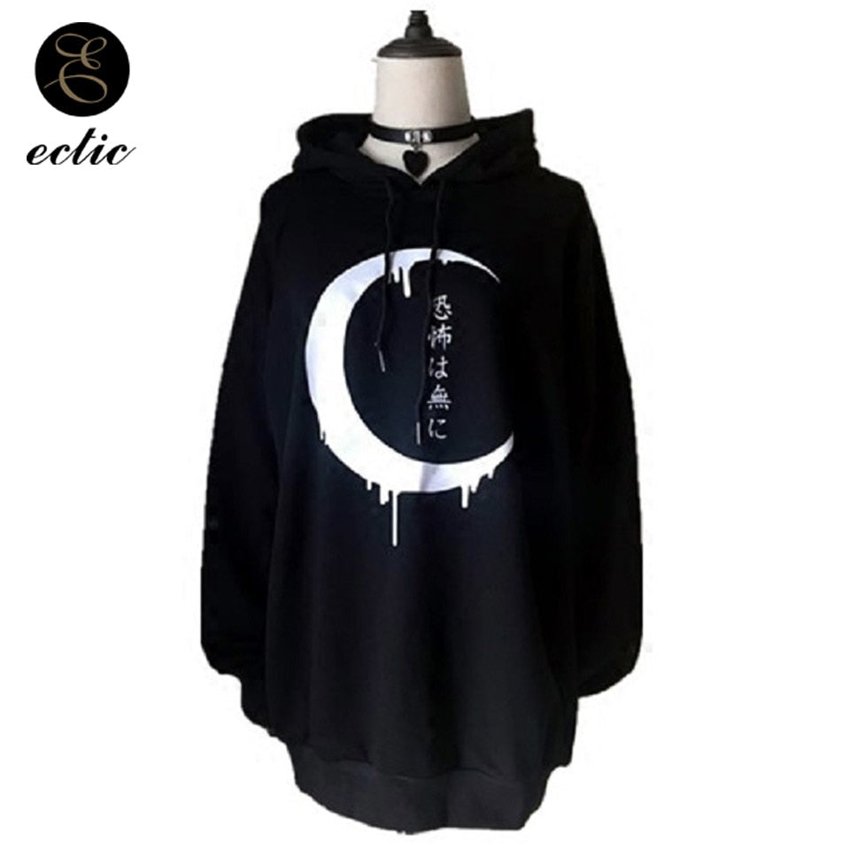 Japanese Letters Hoodie Witch Style Poleron Mujer 2019 Sudadera Bts Ropa Moon Hoodie Pullover Horror Sweatshirt Gothic Women Nct