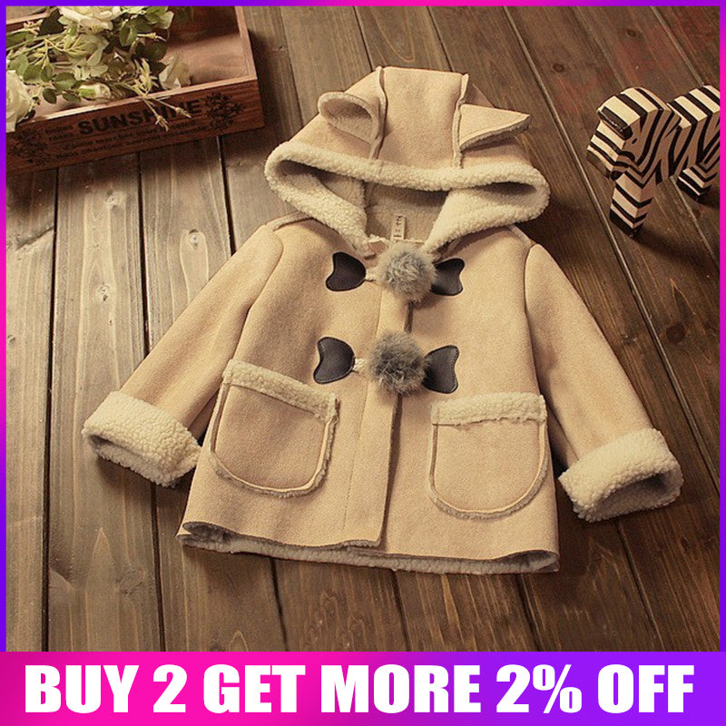 BibiCola baby girls christmas autumn winter jacket coats Children hooded outerwear kids warm outfits leather thicken cute coats