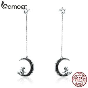 BAMOER Real 925 Sterling Silver  Magic Witch in Moon Star Black CZ Long Drop Earrings for Women Sterling Silver Jewelry
