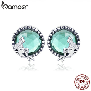 New Collection Romantic 925 Sterling Silver Fairy Story Light Green CZ Stud Earrings Women Sterling Silver Jewelry