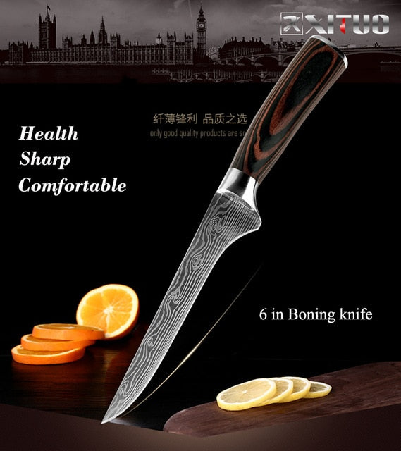 "High quality 8""inch Utility Chef Knives Imitation Damascus steel Santoku kitchen Knives Sharp Cleaver Slicing Knives Gift Knife"