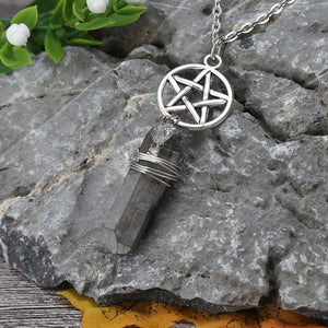 Aura Grey Quartz Wicca Charm Pendant Necklace Rough Stone Raw Crystal Pendants with 70cm Chain