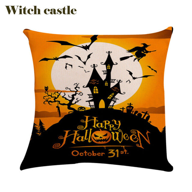 Witch Castle Pumpkin Black Cat Printed Cotton Linen Square Halloween Pattern Throw Pillow Case Cover Diverse new