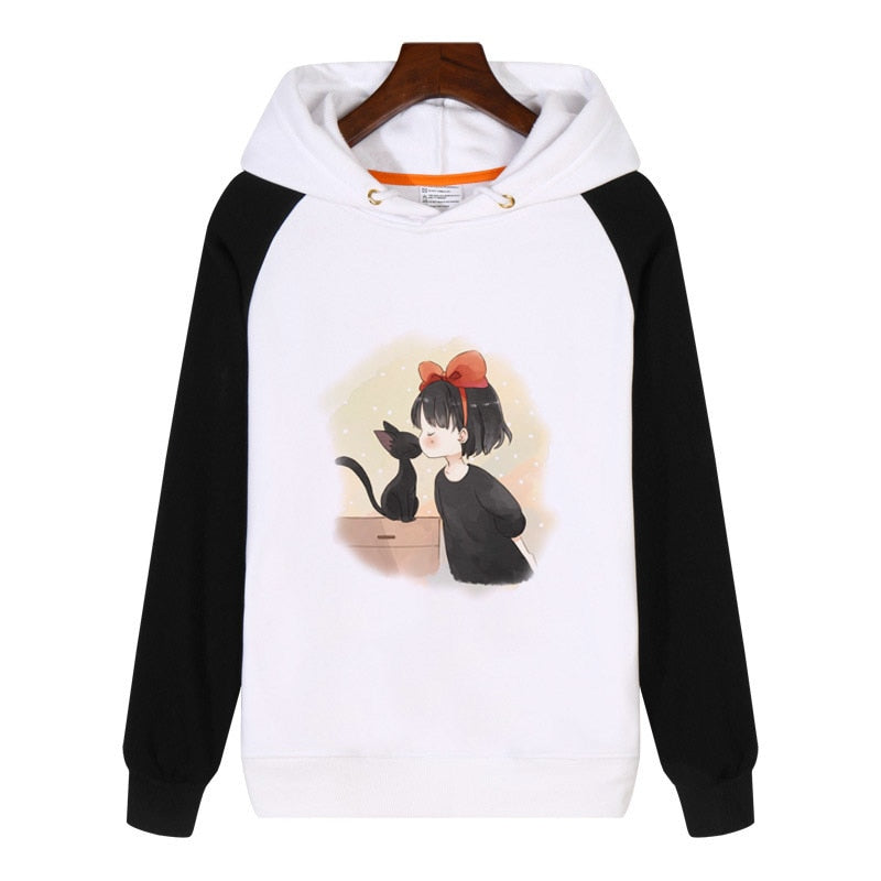 Little Witch and Black Cat Anime Kiki's Delivery Service Hoodies Sweatshirt Streetwear